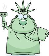 Surprised Cartoon Statue of Liberty - stock illustration