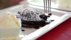 Video of  chocolate lava cake with vanilla ice cream Stock Footage