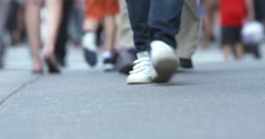4K - New York City Street fashion: close up of feet walking on 5th Avenue Stock Footage