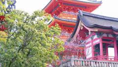 Video of kiyomizu temple tower in Kyoto Japan Stock Footage