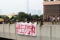 after 29 Sept umbrella revolution, hong kong - stock photo