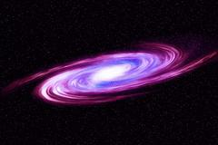 Image of spiral galaxy. Spiral galaxy in deep space with star field backgroun Stock Illustration