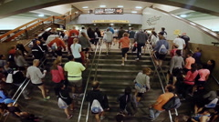 Timelapse of Joggers arrival at the Longueuil Metro Stock Footage