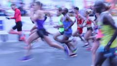 Start International Marathon in a large town Stock Footage