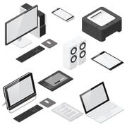 Computer and office devices detailed isometric icon set Stock Illustration