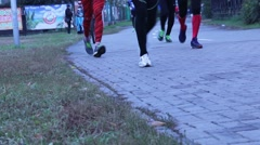 Beut participants of the marathon to the finish Stock Footage