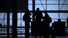 Busy airport terminal Stock Footage