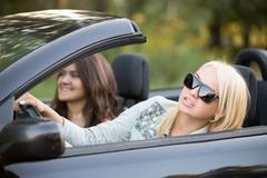 Young woman focusing on driving Stock Photos