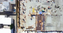 4K, Aerial  view of Construction workers at development site Stock Footage