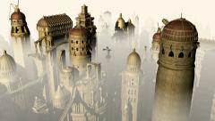 Fantasy city camera fly Stock Footage