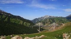 Mountains, bridge, Ili River Valley Stock Footage