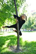 young acrobat outdoor workout - stock photo