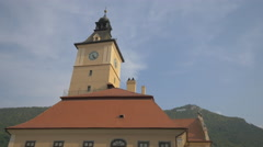 The roof and the clock tower of the Old Town Hall, Brasov Stock Footage