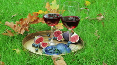 Autumnal still life with red wine and berry Stock Footage