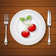 Fork with knife and cherries in heart shape on plate Stock Illustration