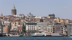 Beyoglu district historical architecture and Galata tower in Istanbul, Turkey Stock Footage