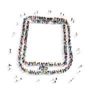 Stock Illustration of group  people  shape  smartphone