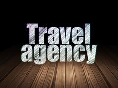 Travel concept: Travel Agency in grunge dark room Stock Illustration
