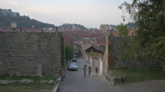 Walking on Castelului alley and going to Tiberiu Brediceanu alley, Brasov Stock Footage