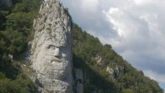 Dacian king Decebalus  Rex sculpture  4K 2160p UHD video - Decebalus head inc Stock Footage
