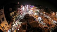 Night Main Bazar in New Delhi Stock Footage