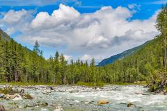 Mountain Altai. The river Akkem. Russia Stock Photos
