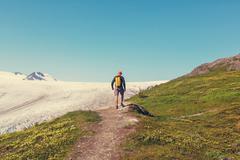 Hike in Exit glacier - stock photo