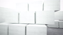Abstract background of concrete cubes. 3D rendering. animation Stock Footage