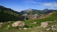 mountains, bridge, Ili River Valley - stock footage
