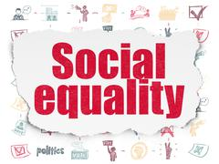 Politics concept: Social Equality on Torn Paper background Stock Illustration