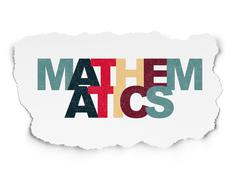 Studying concept: Mathematics on Torn Paper background Stock Illustration