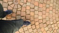 Men walking on street. POV Stock Footage