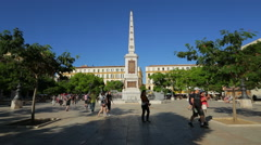 Malaga Plaza de la Merced Stock Footage