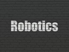 Science concept: Robotics on wall background Stock Illustration