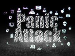 Medicine concept: Panic Attack in grunge dark room - stock illustration