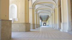Casino hallway arcs on ceiling in  spa resort Herculane located in  western R Stock Footage