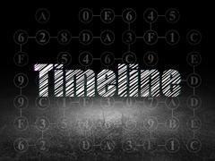 Time concept: Timeline in grunge dark room - stock illustration