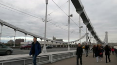 People walking along the Krymsky Bridge, 2015 September, Moscow Stock Footage