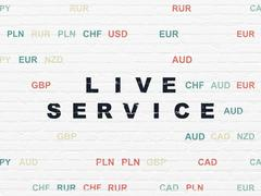 Finance concept: Live Service on wall background - stock illustration