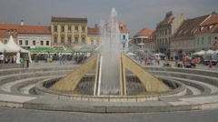 The Council Square fountain, Brasov Stock Footage