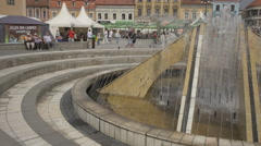 Close up of the Council Square fountain, Brasov Stock Footage