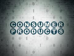Business concept: Consumer Products on Digital Paper background - stock illustration