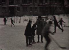 Children skating (Vintage 8Mm Film Home Movie) Stock Footage