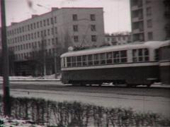 Tram on the street (Vintage 8Mm Film Home Movie) - stock footage