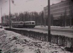 Tram on the street (Vintage 8Mm Film Home Movie) - stock footage
