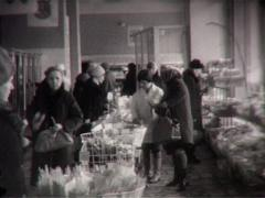 People on the soviet supermarket (Vintage 8Mm Film Home Movie) Stock Footage