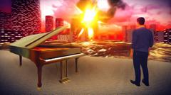 Piano as a symbol of defiance Stock Illustration