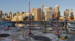 Darling Quarter construction site, Darling Harbour, Sydney in 4k Stock Footage