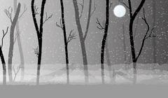 forest in the dark mist, trees silhouettes - stock illustration