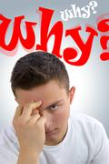 Frustrated handsome teenager asking himself Why? Why? Stock Photos